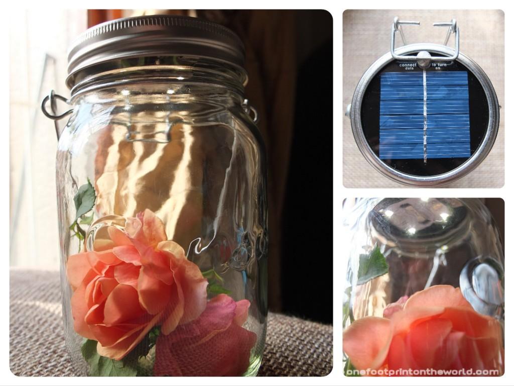 Consol Solar Jar customisée avec des roses du jardin