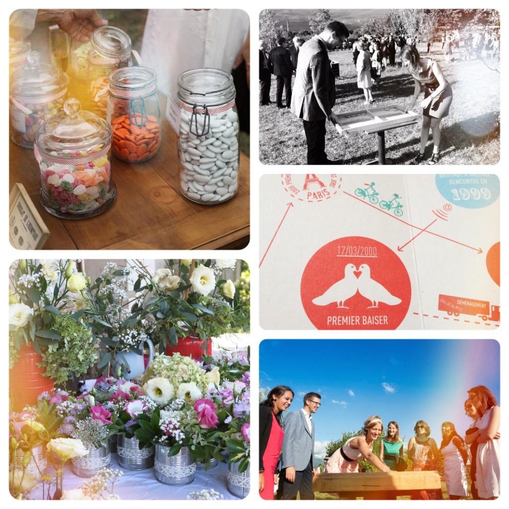 Jeux en bois, fleurs et bar à bonbons pour mariage vintage