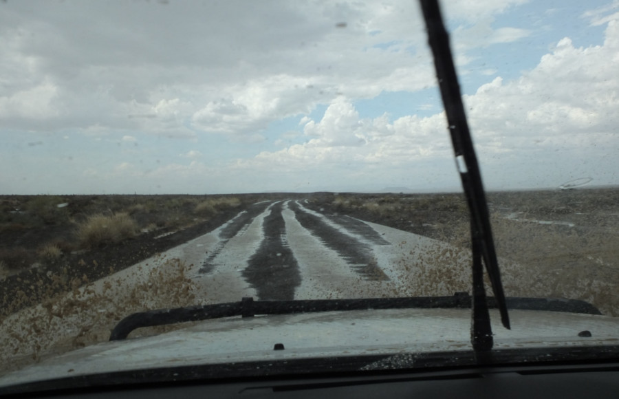 Rain on the road to Tankwa Karoo National Park